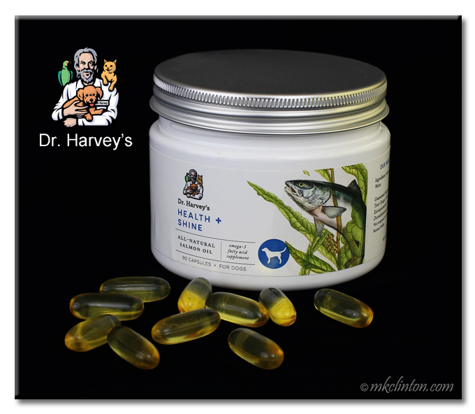 Dr. Harvey's Health + Shine jar with golden capsules on black background
