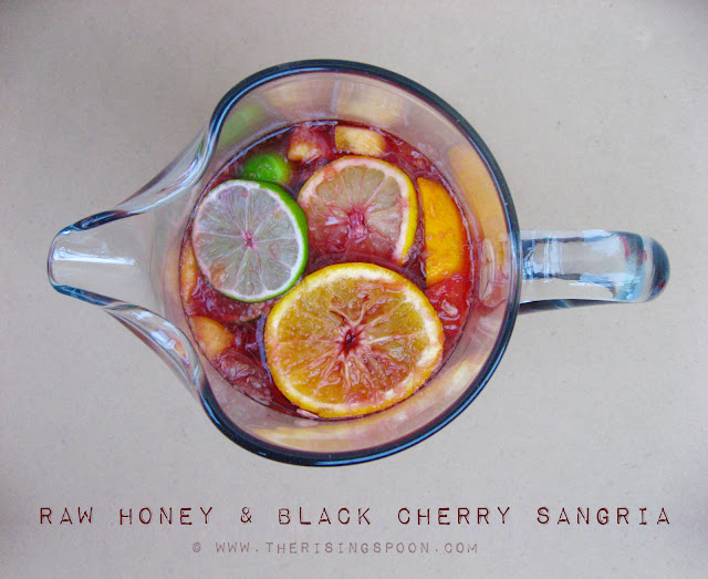 Red Wine Sangria with Raw Honey & Black Cherry Juice | www.therisingspoon.com