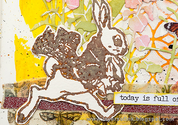 Layers of ink - April Art Journal Page by Anna-Karin with stamps by Tim HOltz.