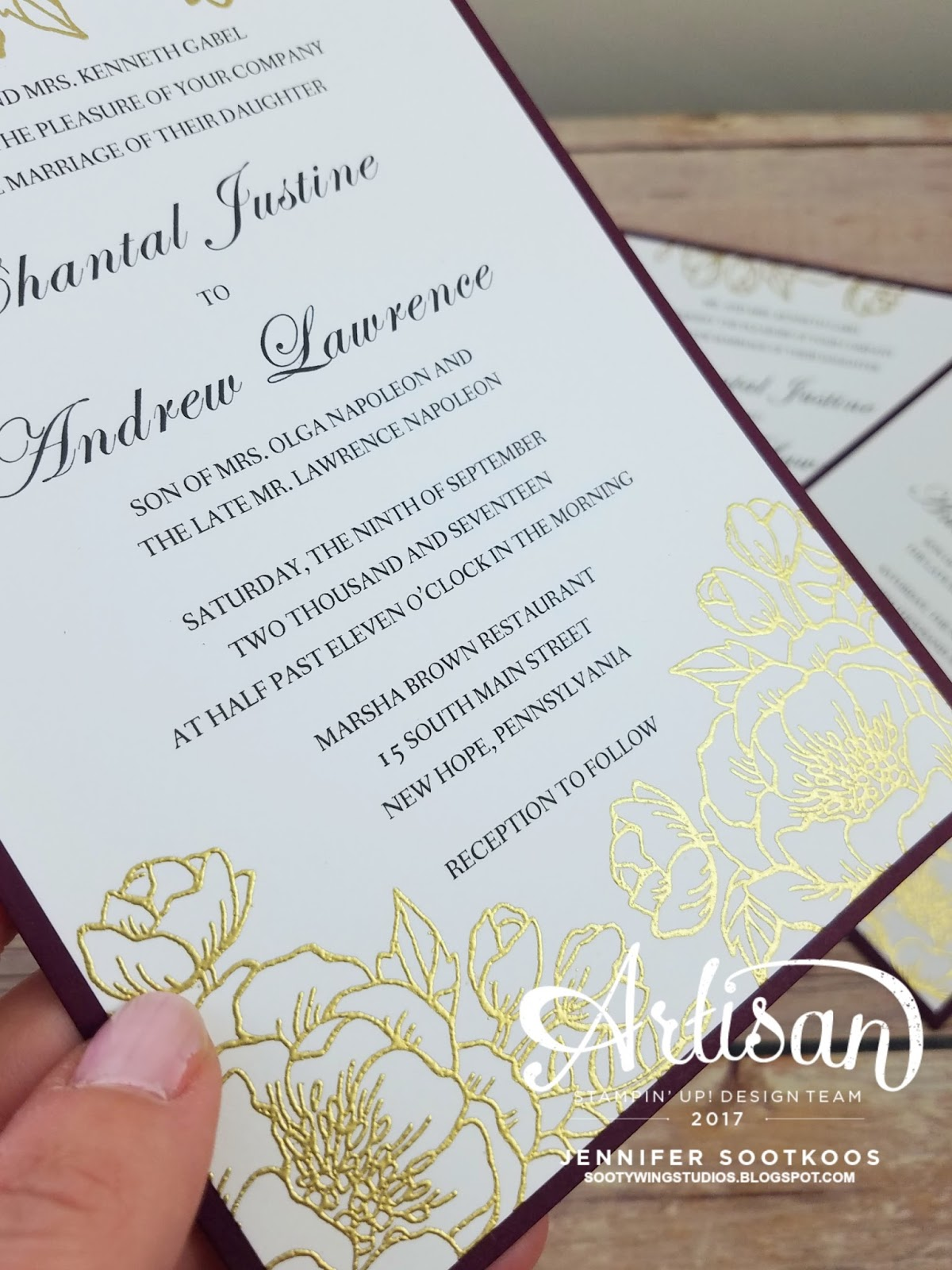Sootywing studios wedding invitations the invite was layered on wine colored cardstock not su stopboris Image collections