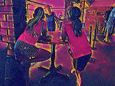 Prisma filter of girl with new friend - photo taken from back