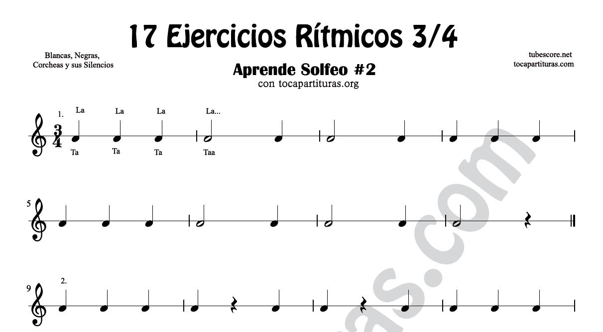 17 Ejercicios Rítmicos en 3/4 Partituras de Ritmos con Negra, Corcheas, Blanca y sus Silencios Aprende Solfeo y Rítmica