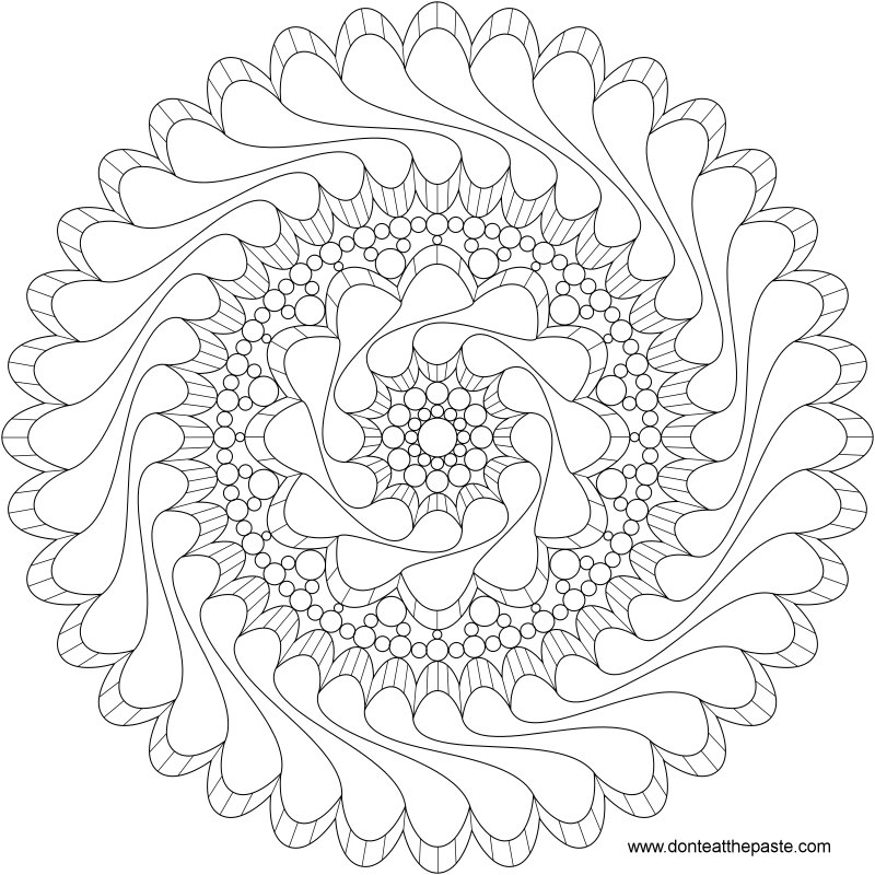 Flowing mandala to color- also available in transparent PNG format #coloring #paper #mandala