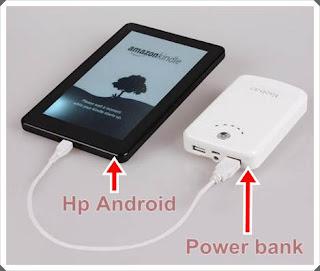 Mengisi baterai dengan menggunakan power bank