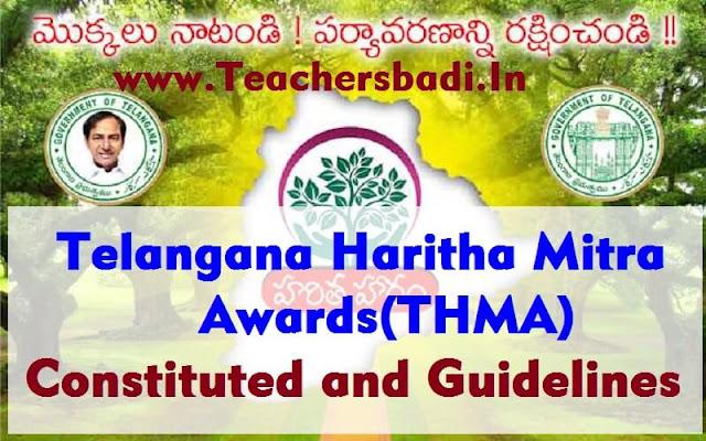 Telangana Haritha Mitra Awards,THMA,Guidelines