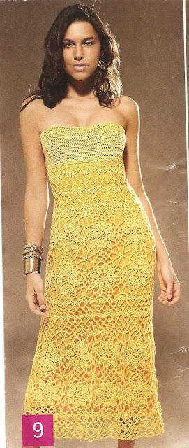 Patrón #1458: Vestido Amarillo a Crochet