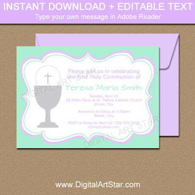 mint and lavender 1st Communion invitations for girl's First Holy Communion party