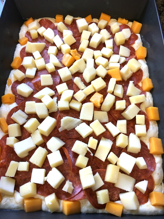 Detroit-Style Pepperoni Pizza before baking