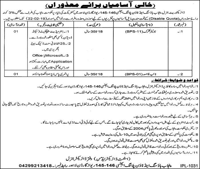 Jobs Vacancies In Punjab Housing And Town Planning Agency 05 February 2019