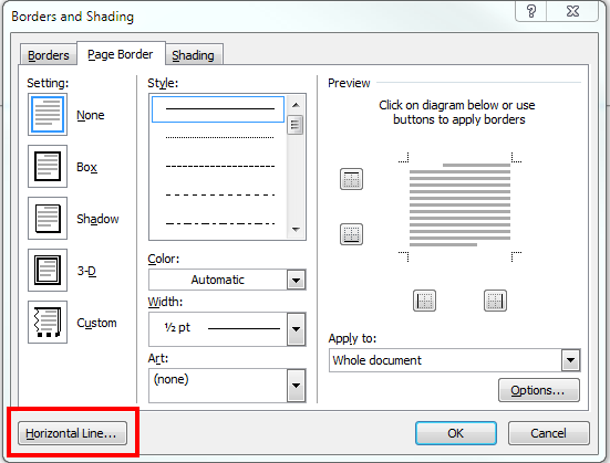 how to insert page break line in word