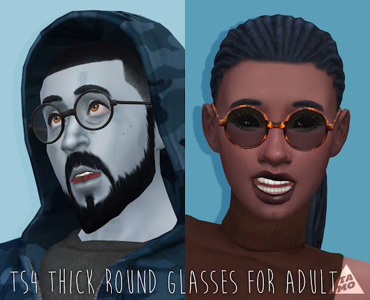 [TS4] UPDATE!! Thick Round & Mock Mods Glasses