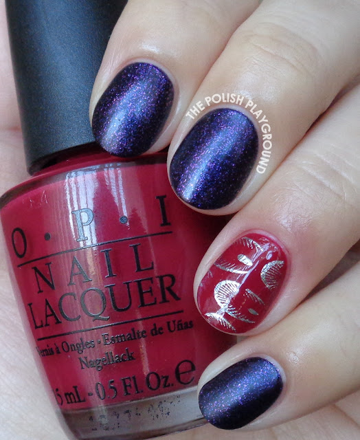 Purple with Peacock Feather Nail Foil Accent Nail Art