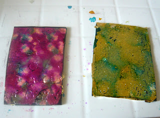 Polymer clay applied with metal leafing and alcohol inks