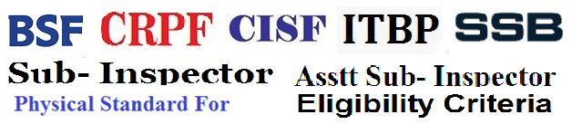 BSF, CRPF, CISF, ITBP, SSB Sub-Inspector (SI) & Assistant Sub-Inspector (ASI) Eligibility Criteria & Physical Standard