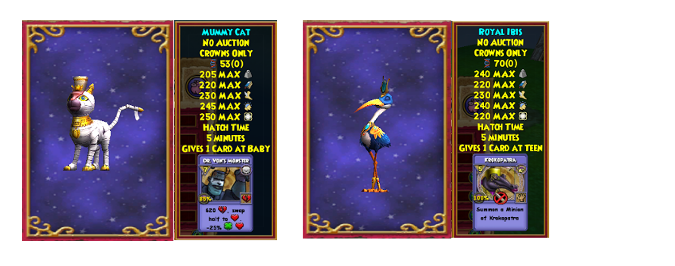 Wizard101 Royal Ibis, Mummy Cat pet drop location