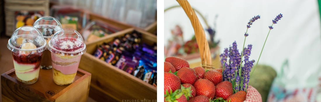 Strawberry basket, desserts and snacks