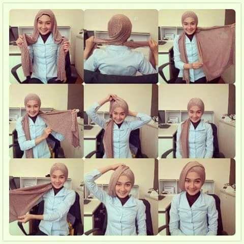 Cara Hijab Segi Empat Yang Sederhana dan Praktis 3