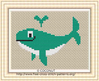 whale, Free and easy printable cross stitch pattern