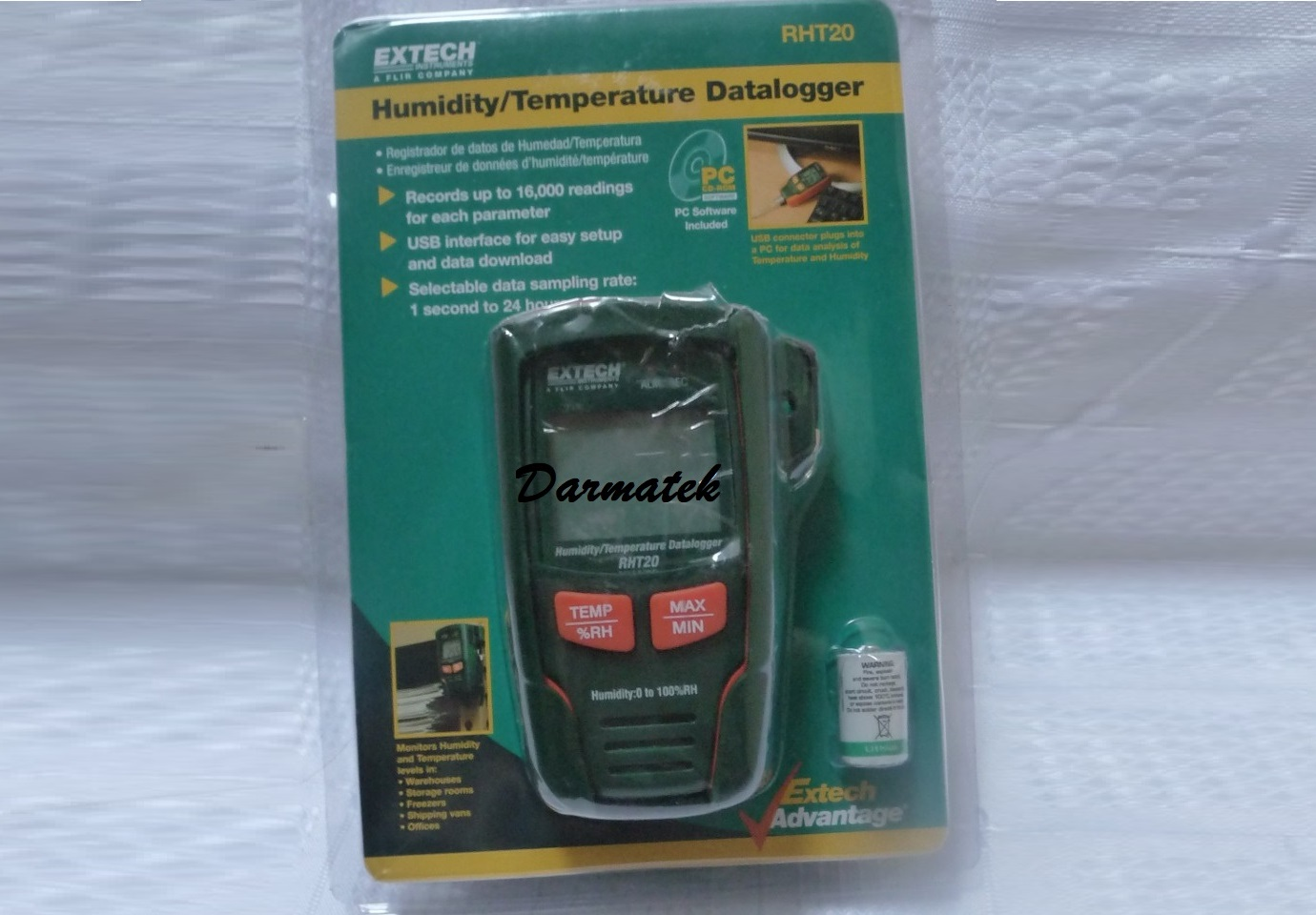Jual Extech RHT20 , Humidity and Temperature Datalogger (LCD)