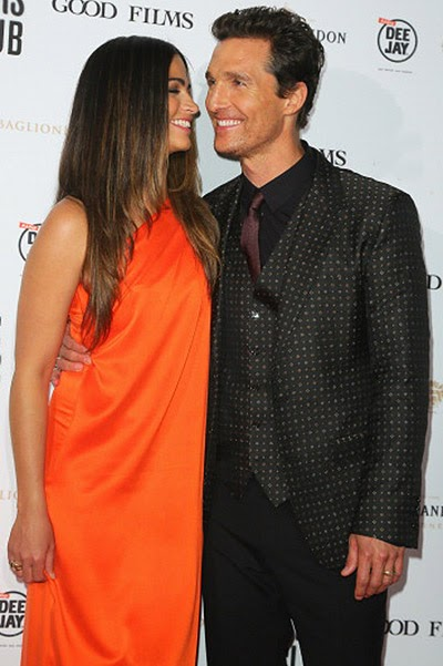 Matthew McConaughey and Camilla Alves at the premiere in Rome