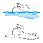 泳ぐ棒人間のイラスト