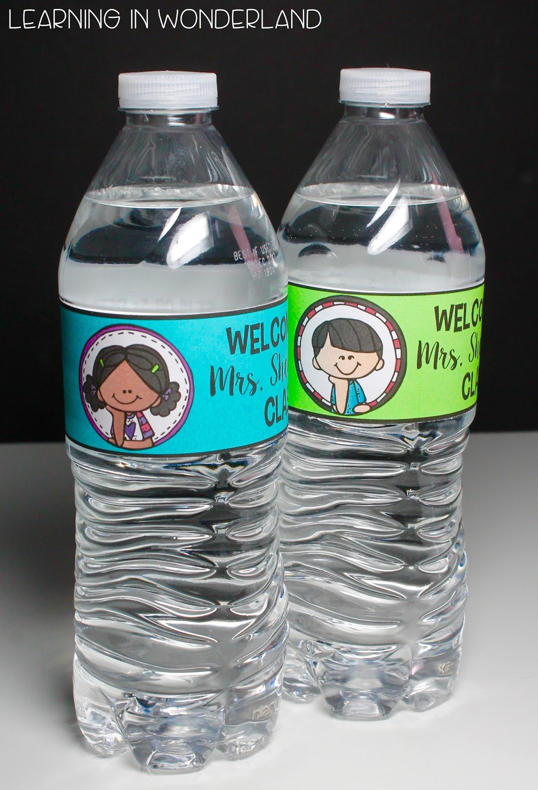 Water bottle labels plus a freebie learning in wonderland for How to put labels on water bottles