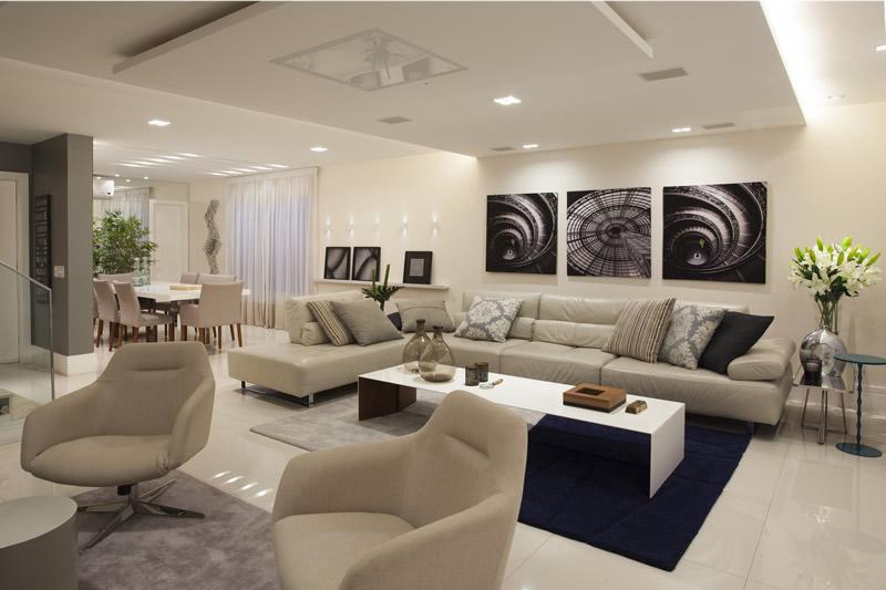 Sala De Estar Com Sofá Grande ~ sala de bate papo integrada a sala de tv dá a sensação de um