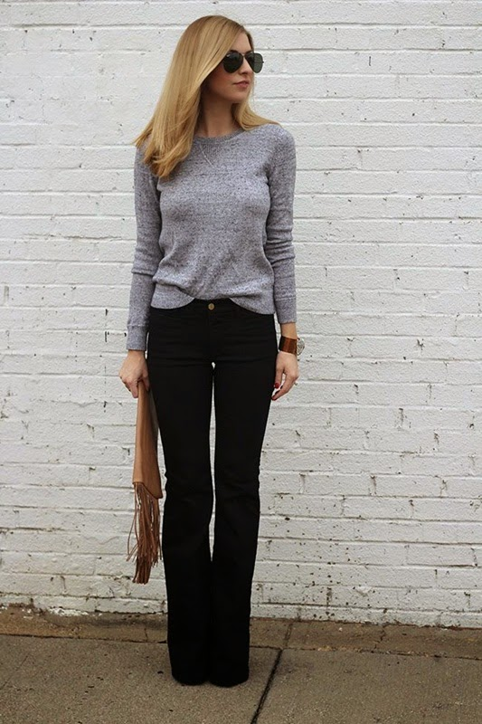 Wearing a Flared Jeans with Grey Sweater and Fringe Clutch, Classic Style
