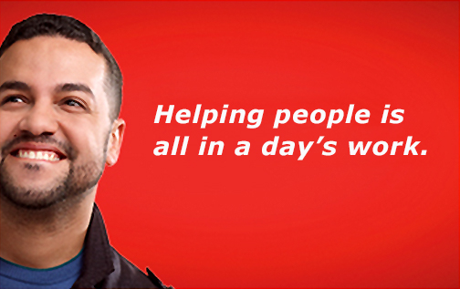 "Image of a young man looking up and smiling.  Text: ""Helping people is all in a day's work."""