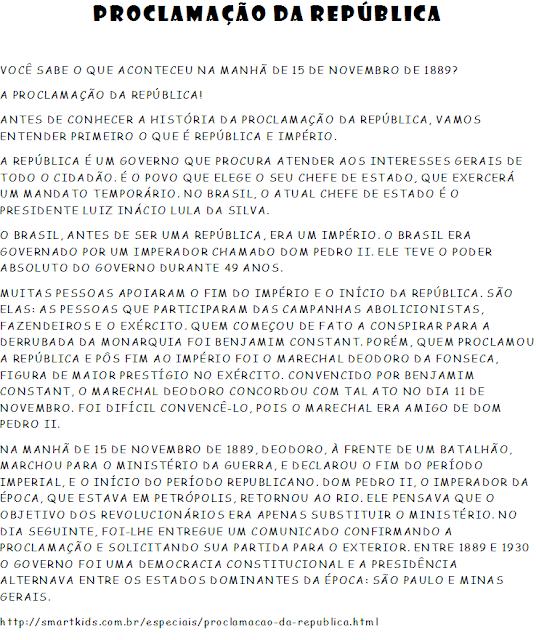 Resultado de imagem para 15 de novembro dia da proclamação da República atividades