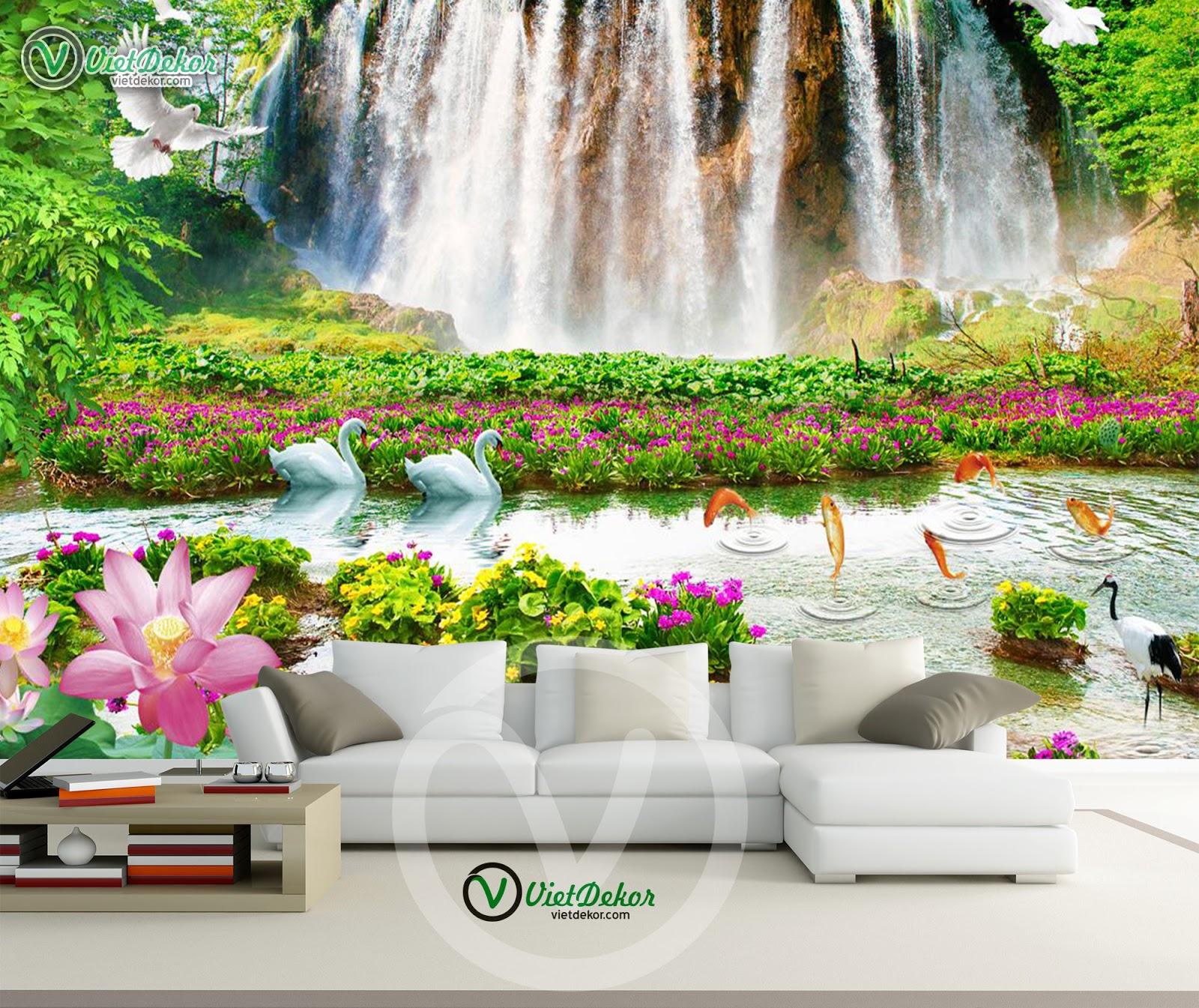 Tranh dán tường phong cảnh chim trời thác nước cho phòng khách đẹp
