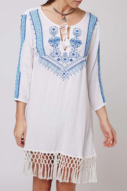 white embroidered blue kaftan, blue embroidered kaftan, topshop white kaftan,