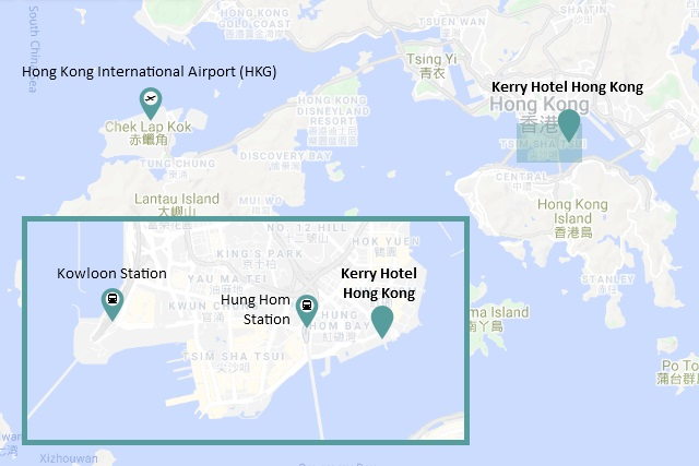 Location map of Kerry Hotel Hong Kong courtesy of Google Maps
