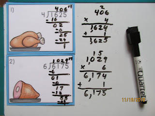 Thanksgiving Feast Long Division Task Cards