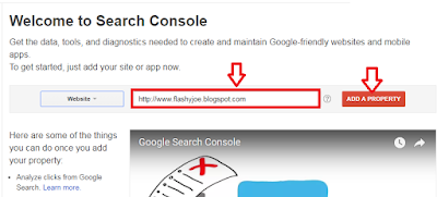 Screenshot: submit your site url to google search console