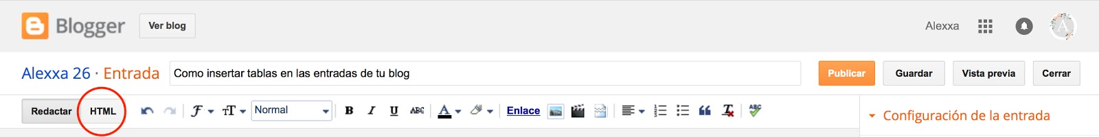 Como insertar una tabla en la entrada de tu blog