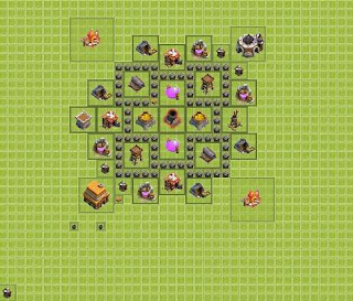 Base Clash of Clans Terbaik TH 4 Farming