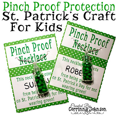 Free printables to make Irish bottle necklaces for st paddys day
