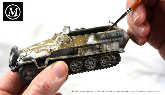 28mm Bolt Action 251 Half track in winter camo painted by Miniature Figure Painter