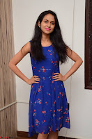 Pallavi Dora Actress in Sleeveless Blue Short dress at Prema Entha Madhuram Priyuraalu Antha Katinam teaser launch 037.jpg