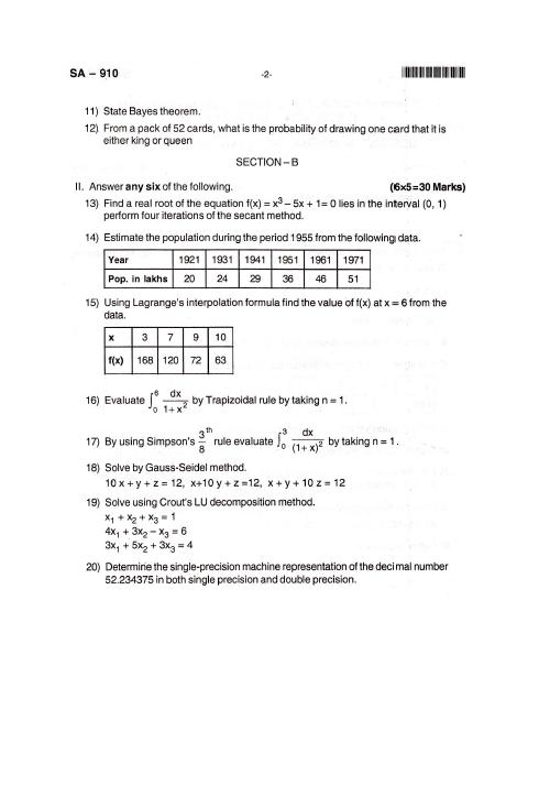 Numerical And Statistical methods Bangalore University B C A