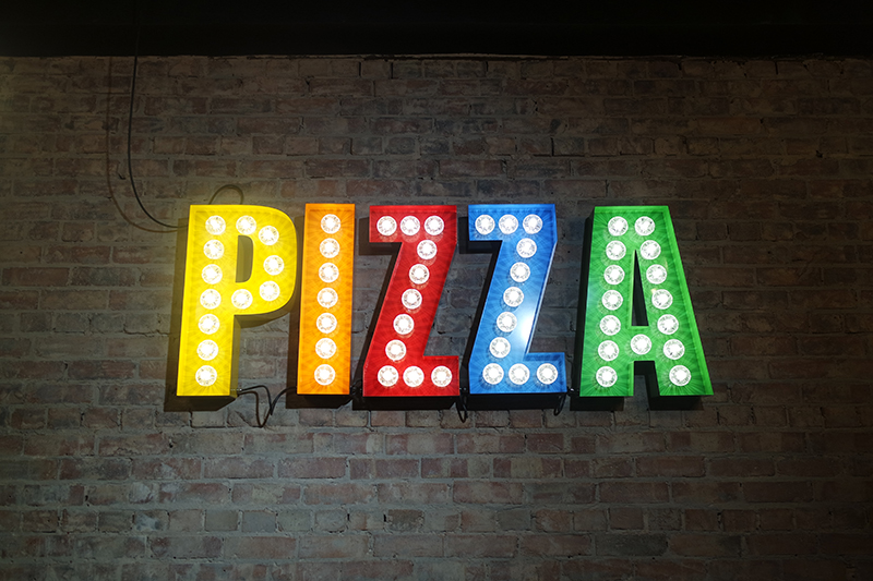 Multi Coloured Pizza Light Up Sign