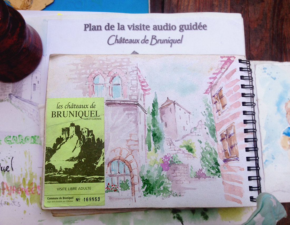 France, Bruniquel, Watercolor Sketch