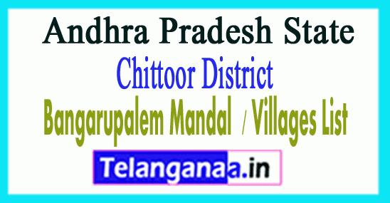 Bangarupalem Mandal Villages Chittoor District Andhra Pradesh State