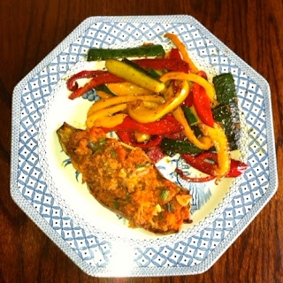 Wheat Free Breakfasts Turkey stuffed sweet potato with capsicum and courgette