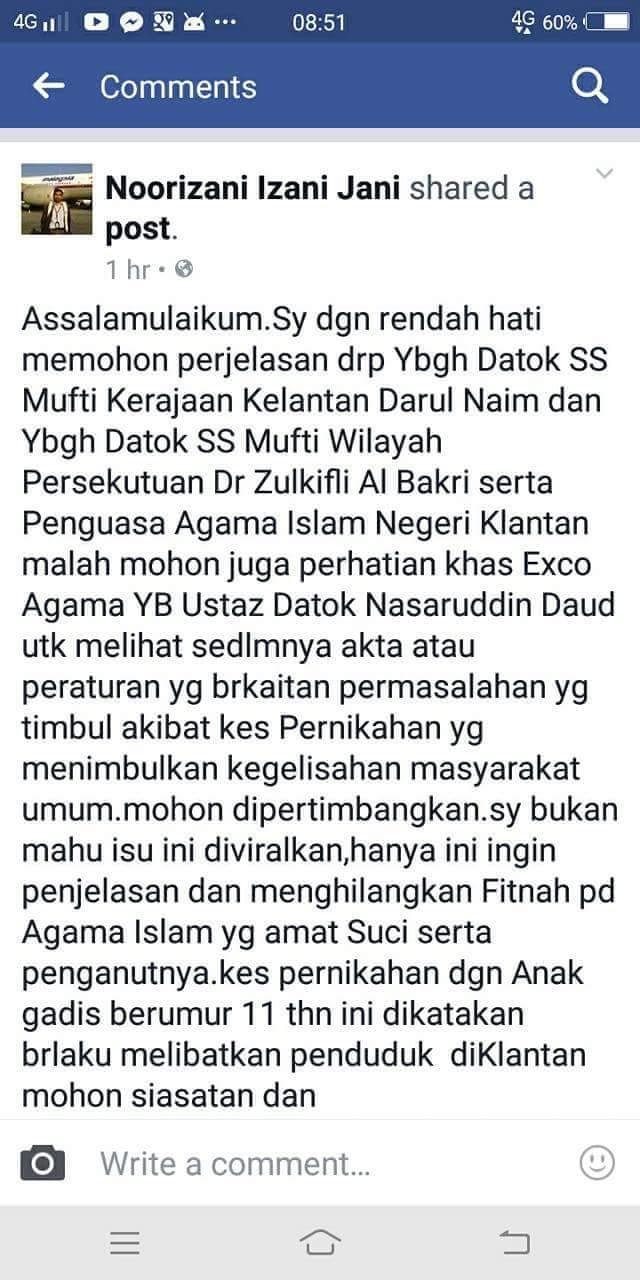Lelaki Kelantan nikah budak perempuan umur 11 tahun