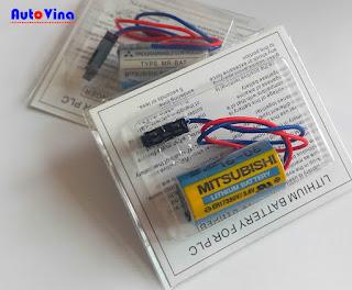 Pin nuôi nguồn PLC Mitsubishi MR-BAT ER17330V 3.6V, batteryPLC Mitsubishi, PLC báo lỗi BAT.LOW, PLC báo hết Pin