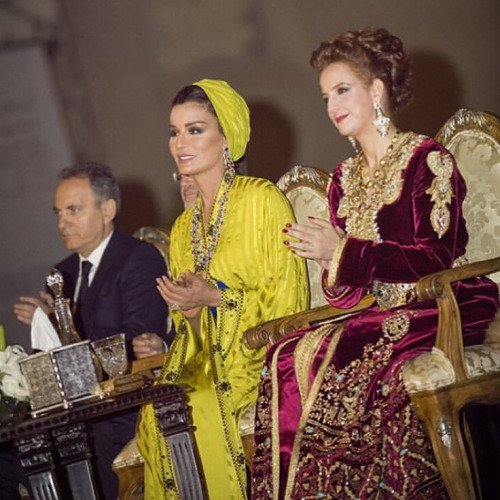 Princess Lalla Salma of Morocco and Sheikha Mozah of Qatar attended the opening of the 22th Fez Festival of World Sacred Music 2016