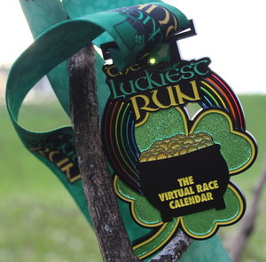 virtual race virtual run st patricks day medal charity shamrock clover LED race medal virtual running club