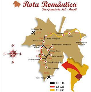 Mapa da Rota Romântica: Roteiro Turístico do Rio Grande do Sul